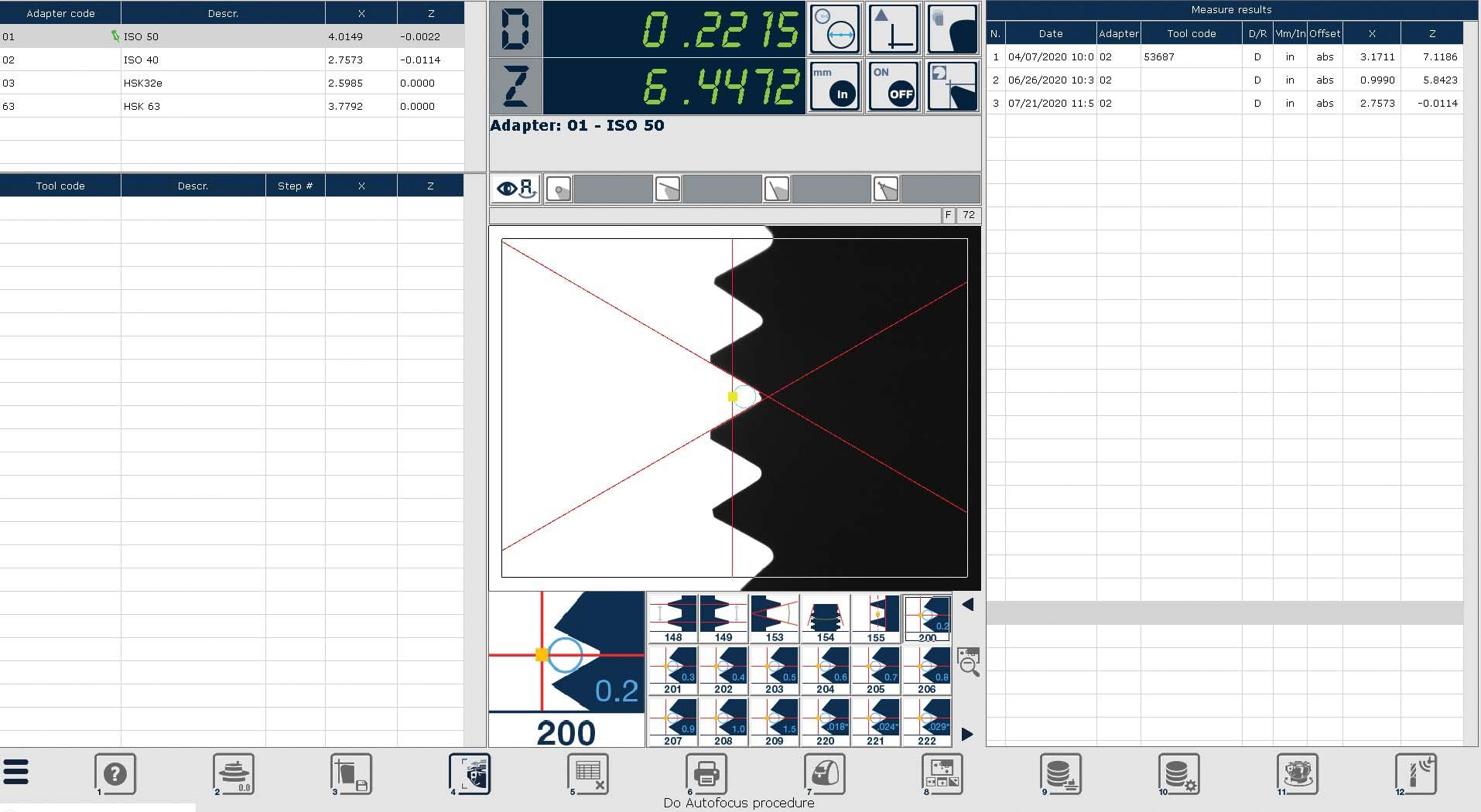 Edge Pro Control Software automatic measurement screen capture.