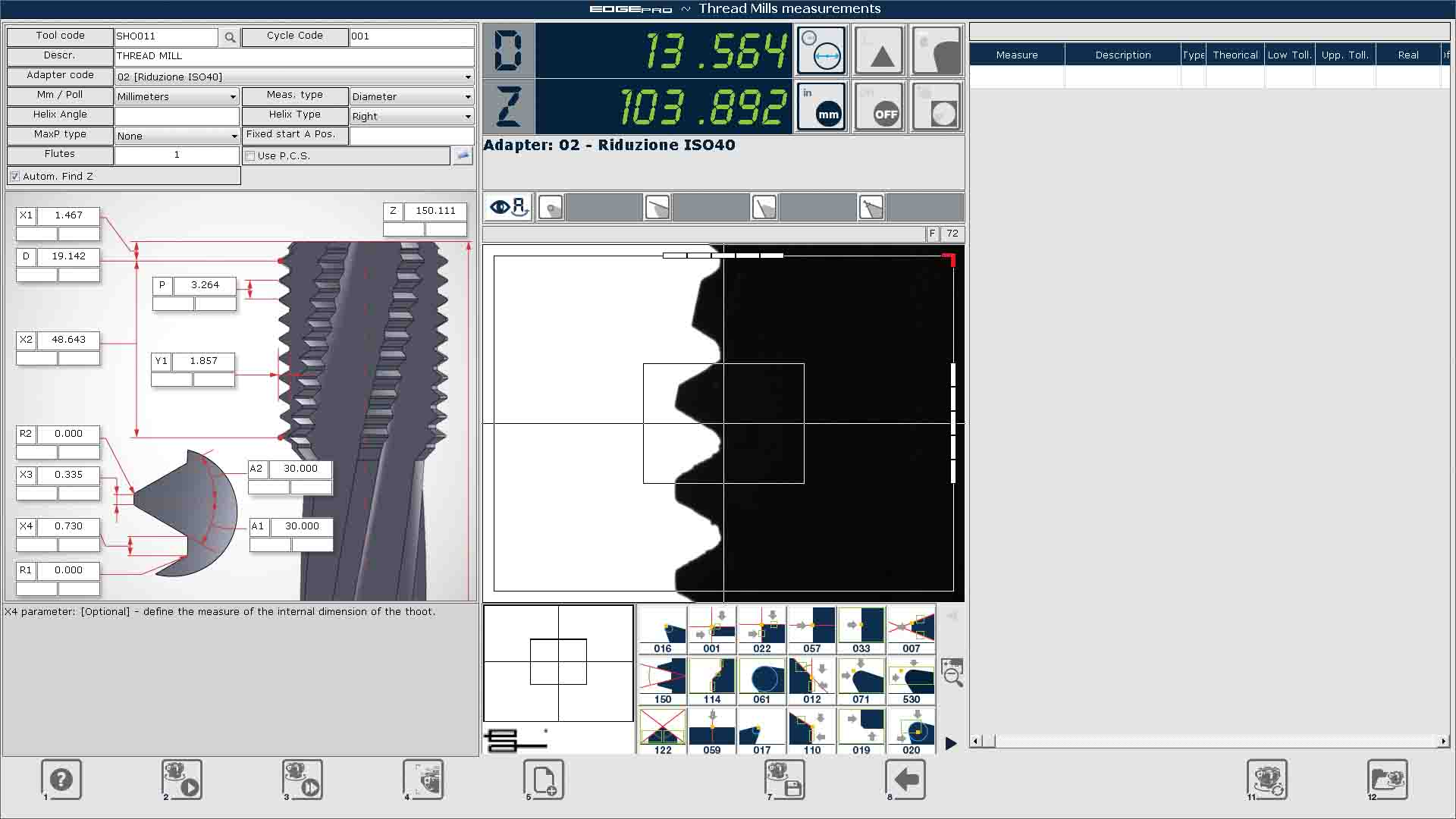 Edge Pro Thread Mills screen capture.