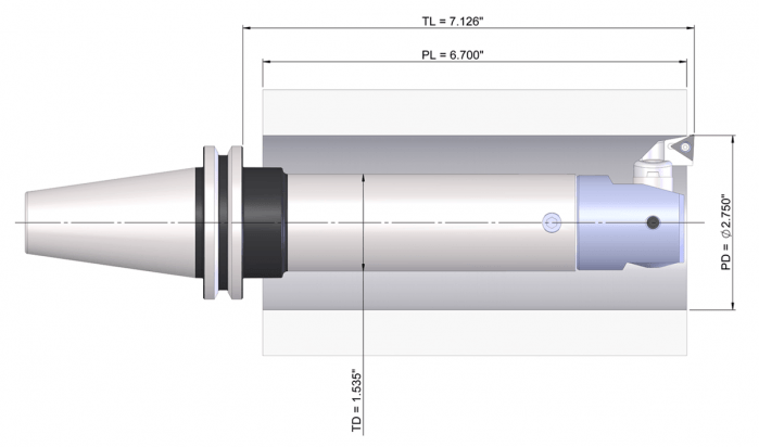 A boring assembly drawing demonstrating length-to-diameter ratio.